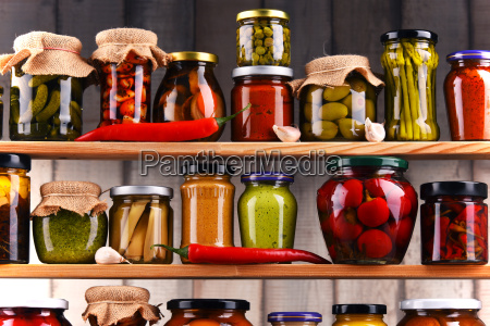 jars, with, variety, of, pickled, vegetables. - 20331393