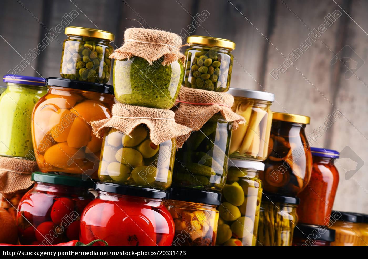 jars, with, variety, of, pickled, vegetables. - 20331423