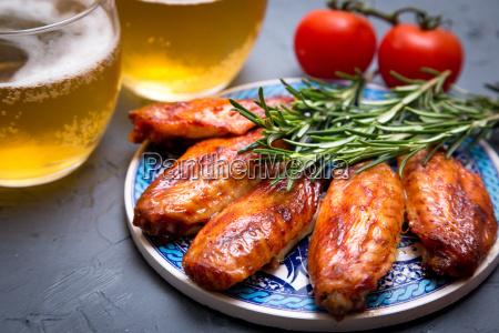 fried chicken wings on a dark