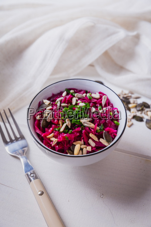 red cabbage salad with chives and