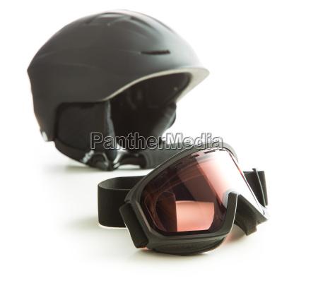 ski glasses and helmet