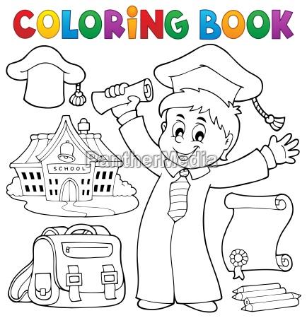 coloring book graduation theme 1