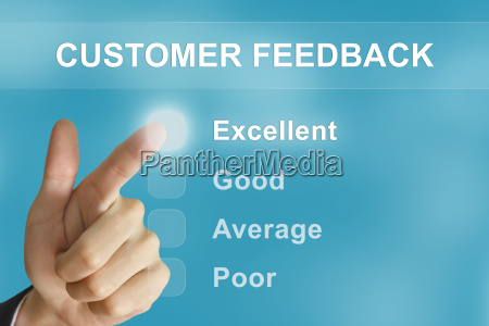 business hand pushing customer feedback button