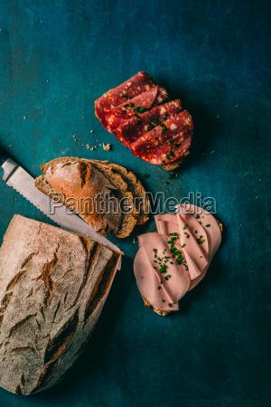crusty bread with fresh chorizo u200bu200bsalami