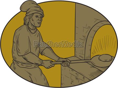 medieval baker bread peel wood oven