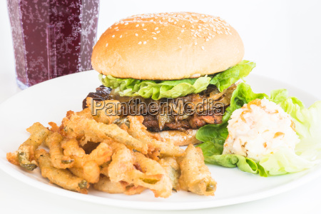 grilled chicken burger with caramelized onions