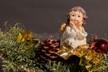 christmas angel on a christmas arrangement