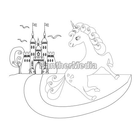 cute unicorn and fairy tale princess