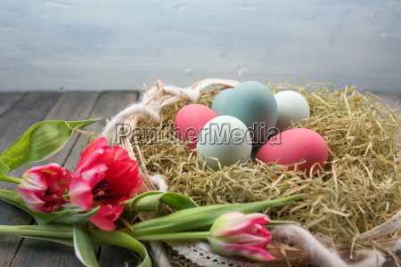 still life with easter nest and