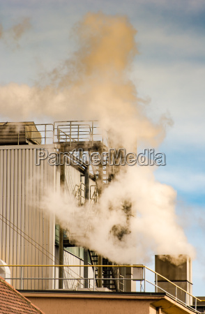 air pollution from the smokestack of