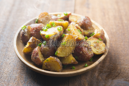oven roasted potatoes on plate ready