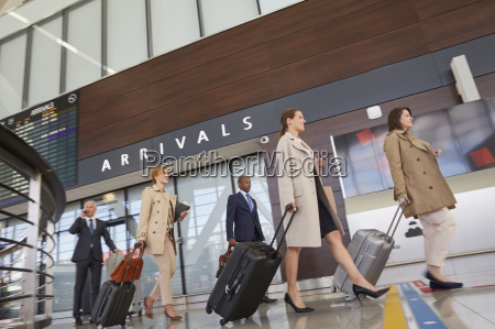 business people walking pulling suitcases in