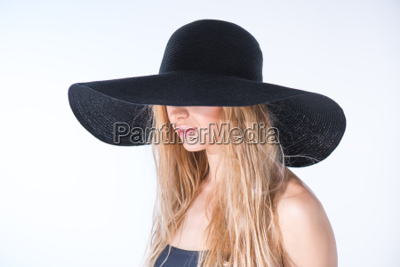 side view of woman in black