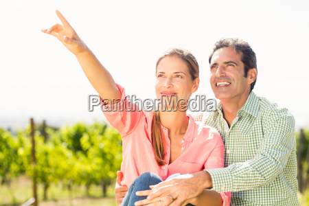 couple standing in vineyard and pointing