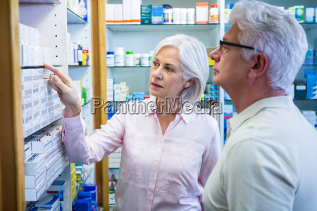 customers checking medicines