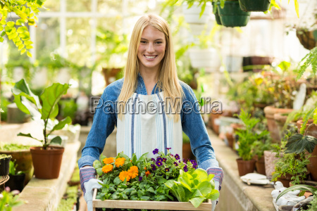 female owner holding flowers crate at