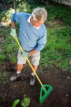 high angle view of happy gardener