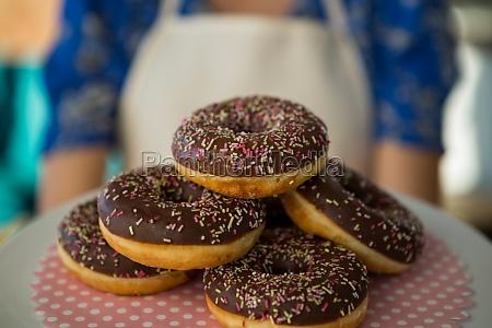 close up of tempting doughnuts