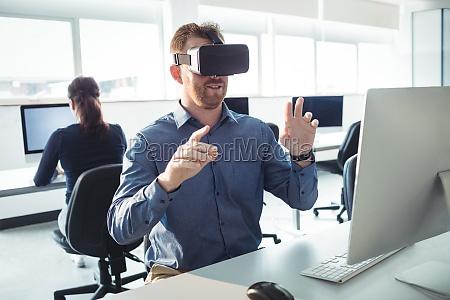 mature student using virtual reality headset