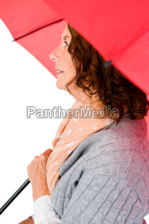 thoughtful woman holding umbrella