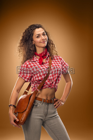 the cowgirl fashion woman over a