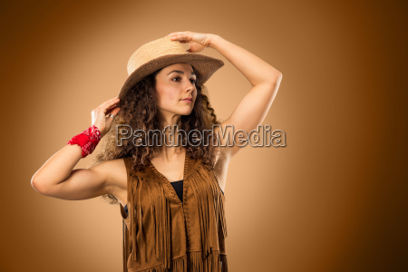 the, cowgirl, fashion, woman, over, a - 20429219