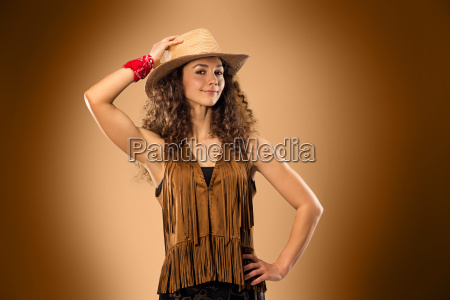 the, cowgirl, fashion, woman, over, a - 20429331