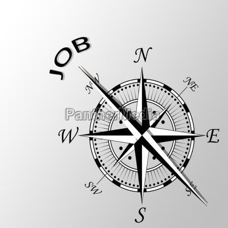 illustration of job written aside compass