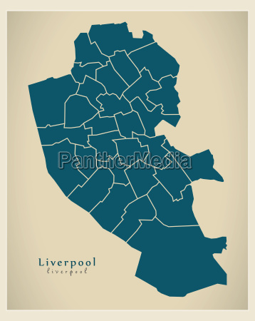 modern city map liverpool with
