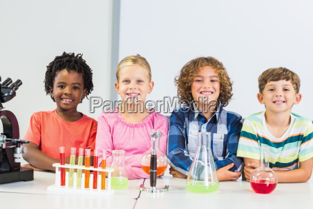 portrait of kids doing a chemical