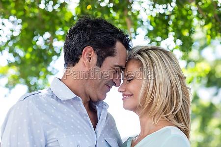 romantic couple against trees