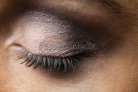 focus on eyes makeup with closed