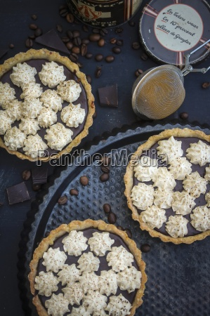 chocolate and espresso tartlets topped with