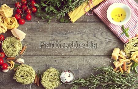 an arrangement of typical italian food