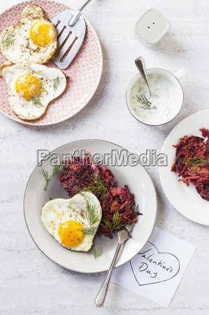 beetroot carrot fritters wth heart shaped