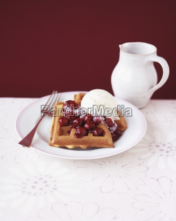 waffles with cherries and vanilla ice