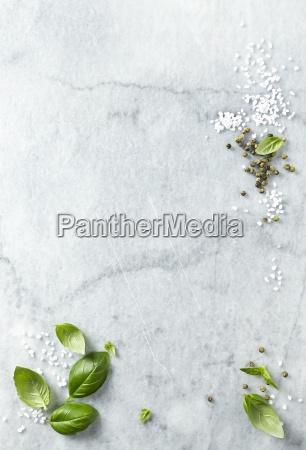 basil leaves sea salt and green