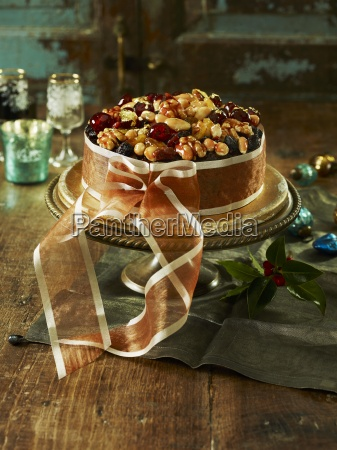 christmas cake tied with ribbon