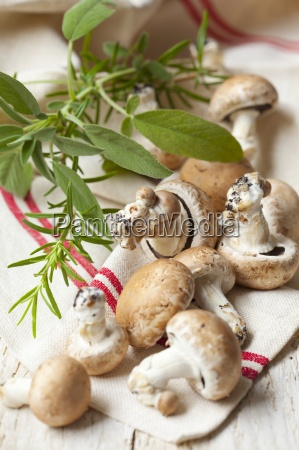 fresh mushrooms sage and rosemary