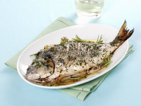 pan fried gilt head bream with