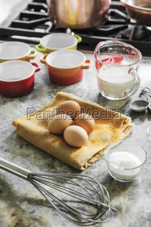 eggs milk and sugar with a