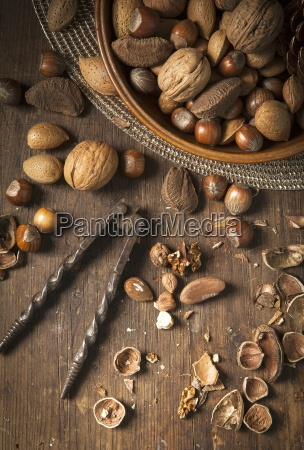 festive bowl of mixed whole nuts