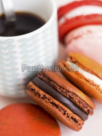 macarons and a cup of coffee
