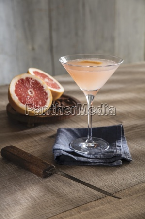 champagne cocktail in martini glass with