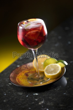 sangria in a glass with citrus
