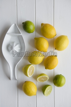 lemons and limes with the ceramic