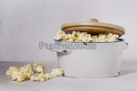 popcorn in an enamel saucepan