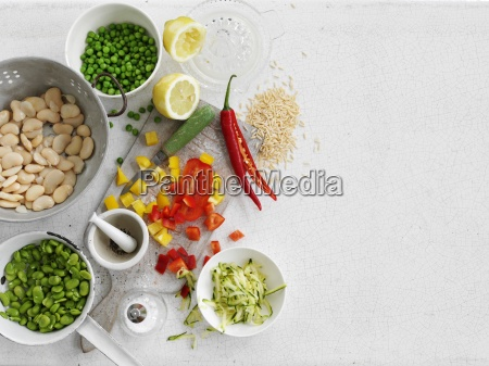 various types of vegetables rice spices