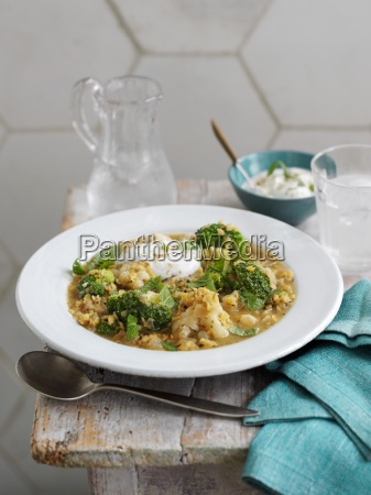 thick vegetable soup with lentils and