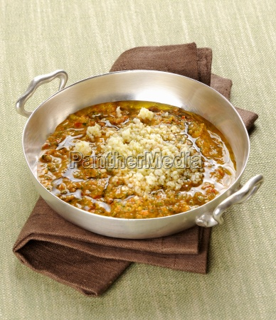 bulgur in a vegetable and anchovy